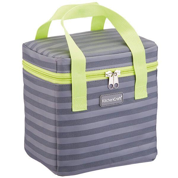 KitchenCraft 5 Litre Lunch Grey Stripey Cool Bag