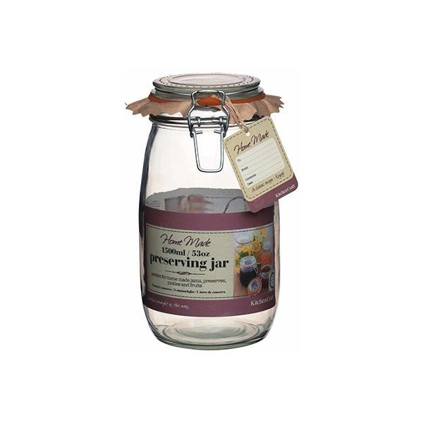 Home Made Glass 1.5 Litre Preserving Jar