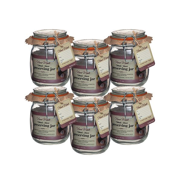 Home Made Glass 750ml Preserving Jar Set Of 6