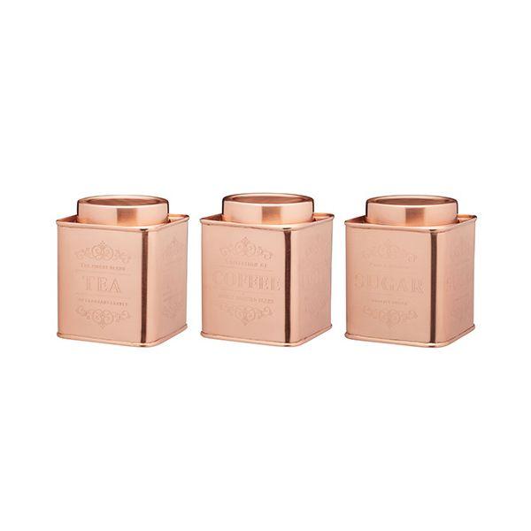 Le Xpress Copper Coffee, Tea & Sugar Set Of 3 Storage Tins