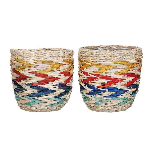 KitchenCraft Woven Seagrass Rainbow Planters Set of 2