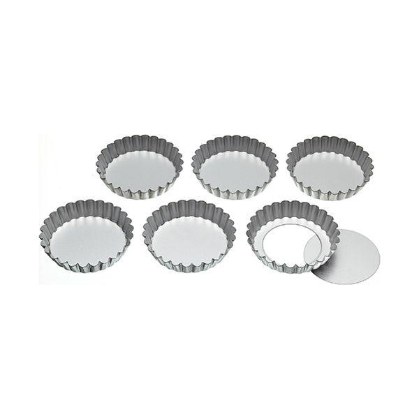 KitchenCraft Set of Six 10cm Loose Base Tart Tins