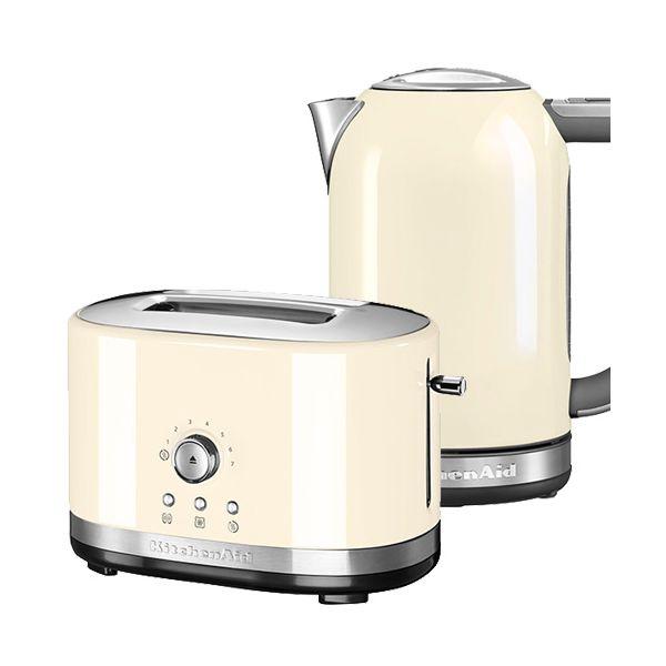 KitchenAid Almond Cream 2 Slot Manual Toaster and 1.7L Kettle Set