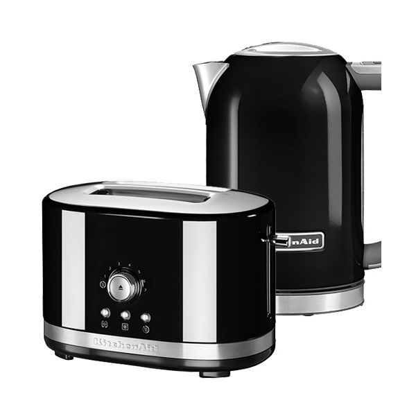 KitchenAid Onyx Black 2 Slot Manual Toaster and 1.7L Kettle Set