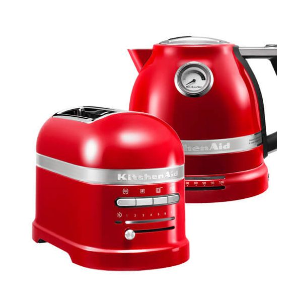 KitchenAid Artisan Empire Red 2 Slot Toaster and Kettle Set