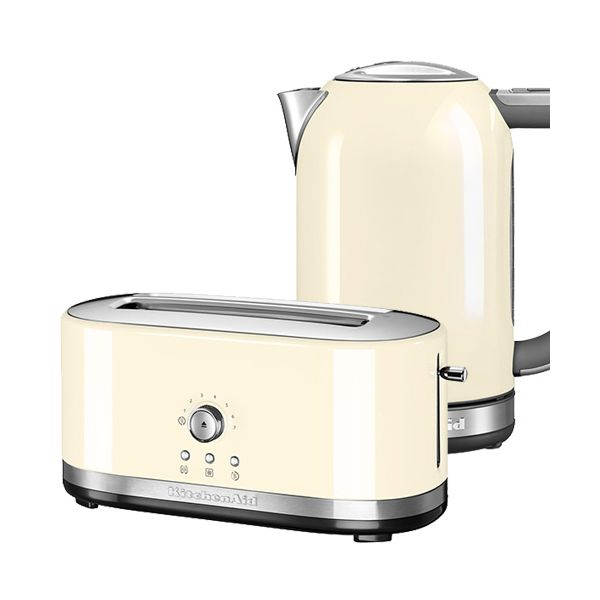 KitchenAid Almond Cream Long Slot Manual Toaster and 1.7L Kettle Set