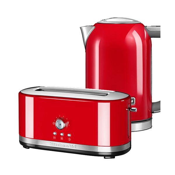 KitchenAid Empire Red Long Slot Manual Toaster and 1.7L Kettle Set