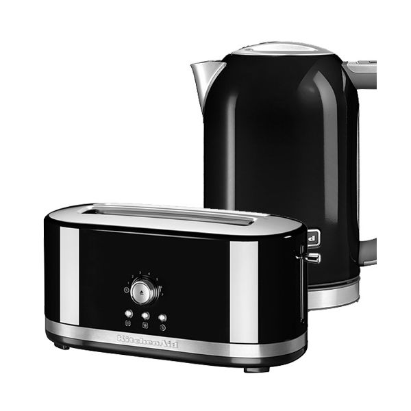 KitchenAid Onyx Black Long Slot Manual Toaster and 1.7L Kettle Set