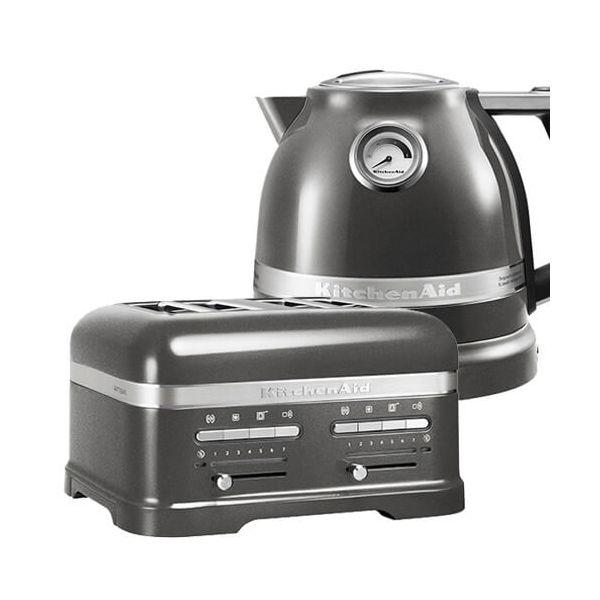 KitchenAid Artisan Medallion Silver 4 Slot Toaster and Kettle Set
