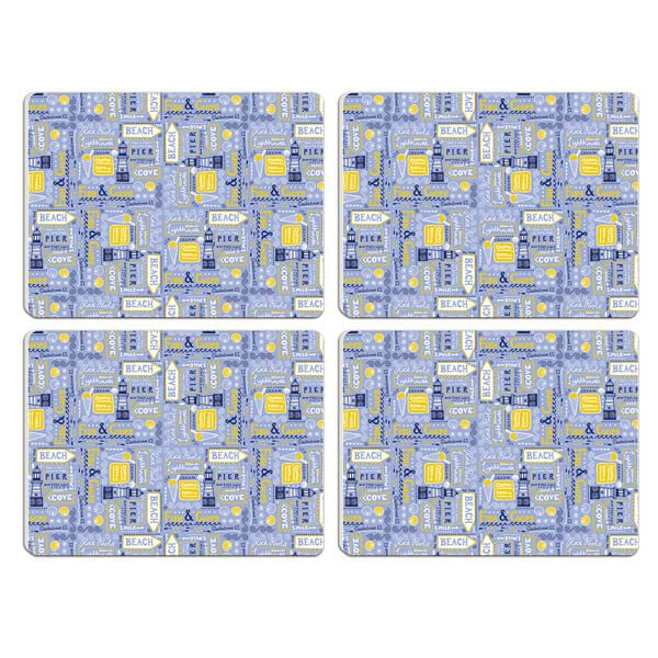 Melamaster Moulded Pack Of 4 Placemat Beachside