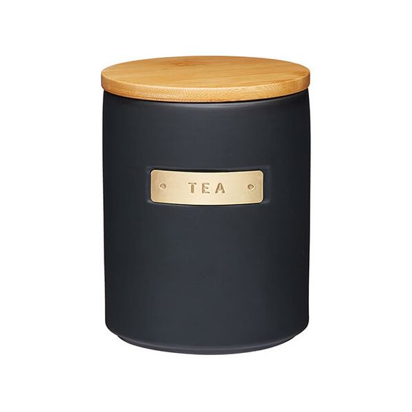 Master Class Black Stoneware Tea Canister with Wood Lid