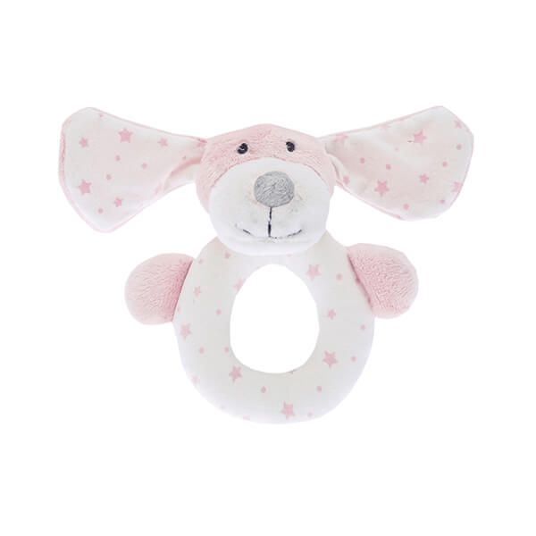 Walton & Co Pink Puppy Rattle