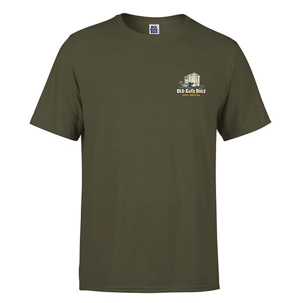 Old Guys Rule Military Green Shed Happens II T-Shirt