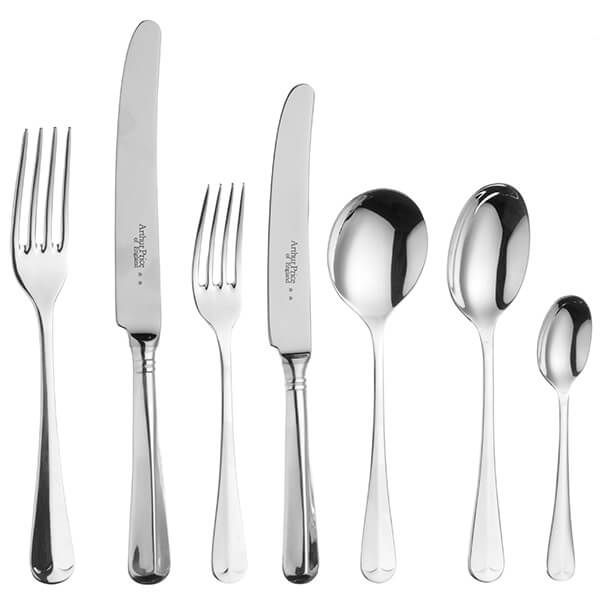 Arthur Price of England Sovereign Stainless Steel Rattail 44 Piece Cutlery Box Set