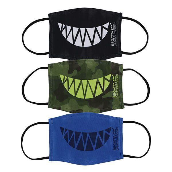 Regatta Pack of Three Kids Face Masks - Camo Teeth, Nautical Blue Teeth and Blac