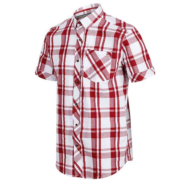 Regatta Men's Deakin III Short Sleeve Checked Shirt White Delhi Red Check