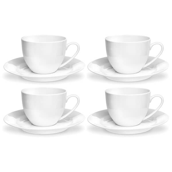 Royal Worcester Serendipity White Set of 4 Teacup & Saucers