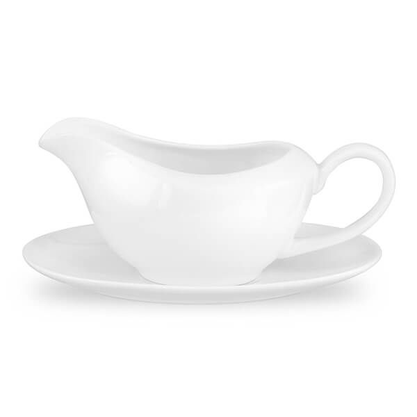 Royal Worcester Serendipity White Gravy Boat and Stand