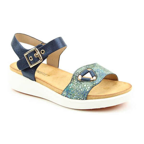 Heavenly Feet Navy Etta Ladies Premium Sandals