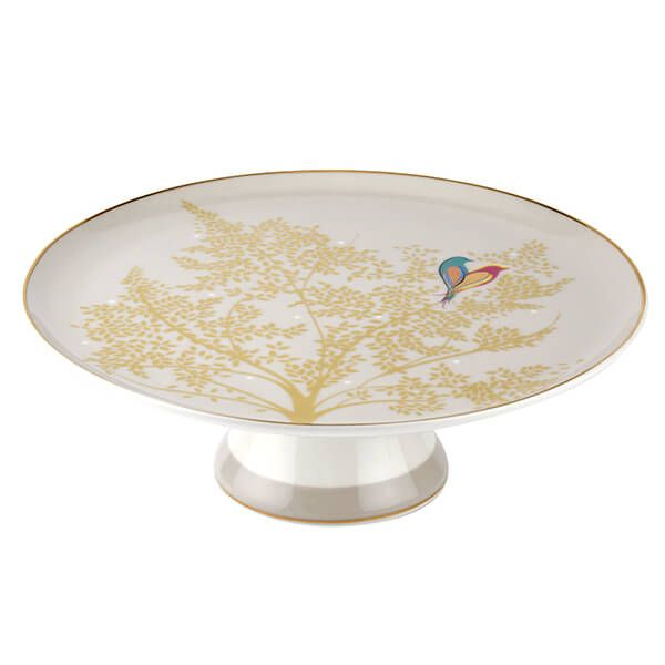 Sara Miller Chelsea Collection Light Grey Footed Cake Plate