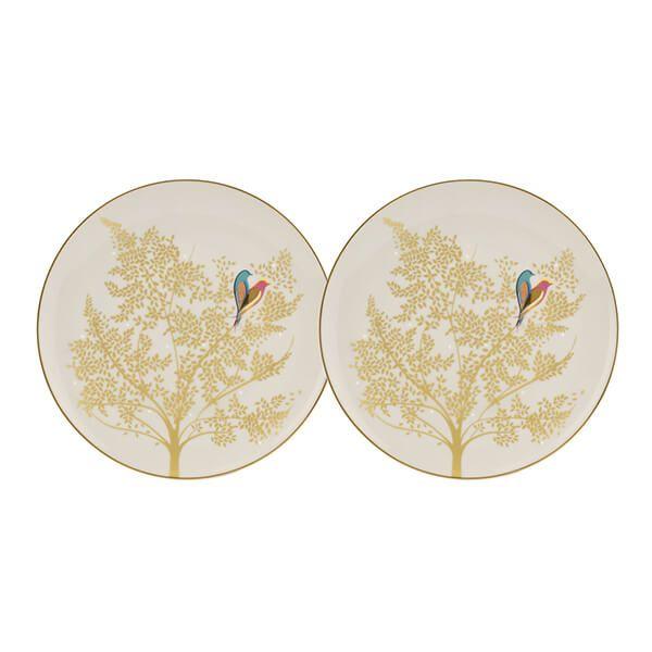 Sara Miller Chelsea Collection Set of 2 Light Grey Cake Plates