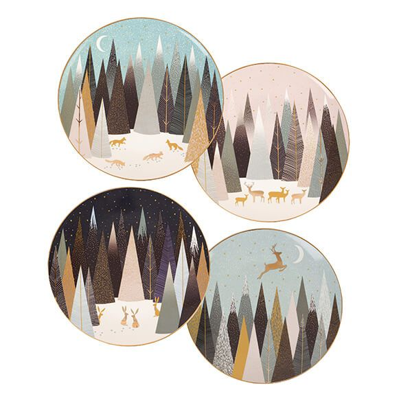 Sara Miller Frosted Pines Collection Set of 4 Plates