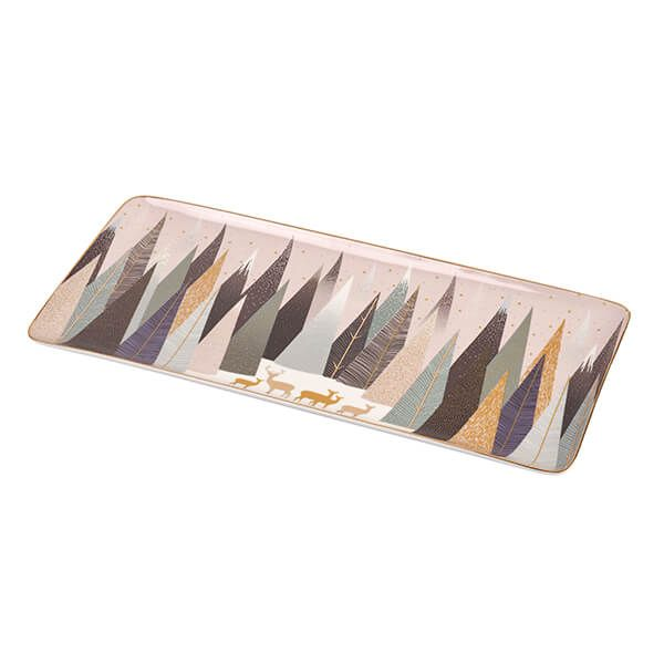 Sara Miller Frosted Pines Collection Deer Sandwich Tray