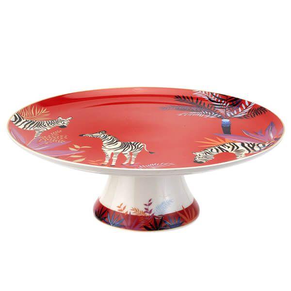 Sara Miller Tahiti Zebra Footed Cake Plate