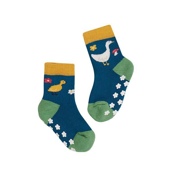 Frugi Organic Fjord Green/Geese Grippy Socks 2 Pack