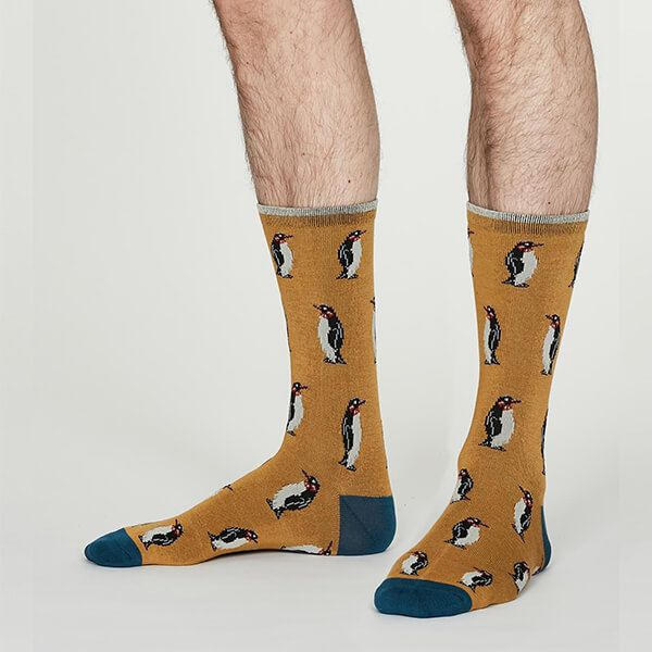 Thought Butterscotch Bamboo Penguin Zoo Animal Socks