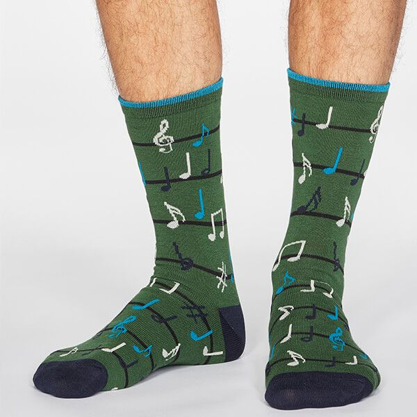 Thought Olive Green Luis Music Socks