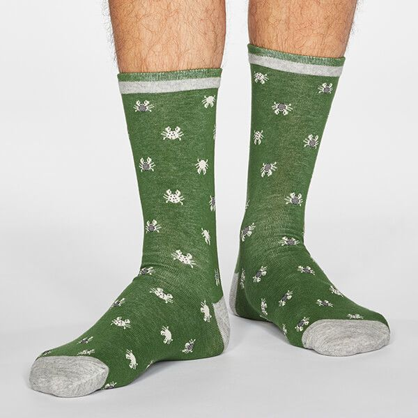 Thought Olive Green Carlos Sea Creatures Socks