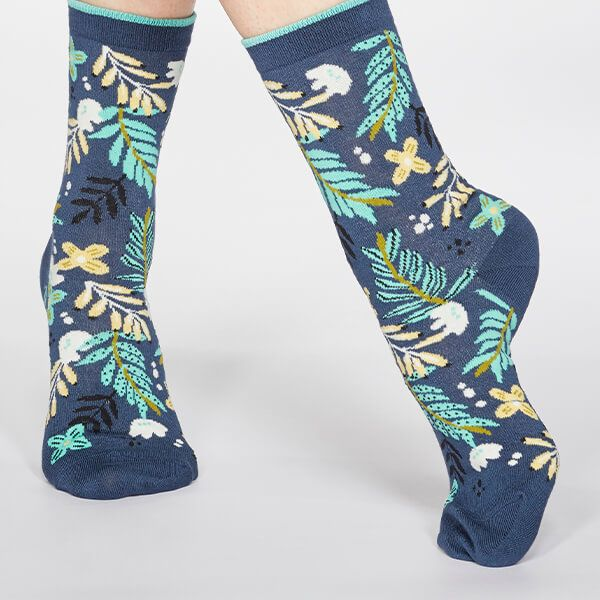 Thought Denim Blue Nelly Floral Socks