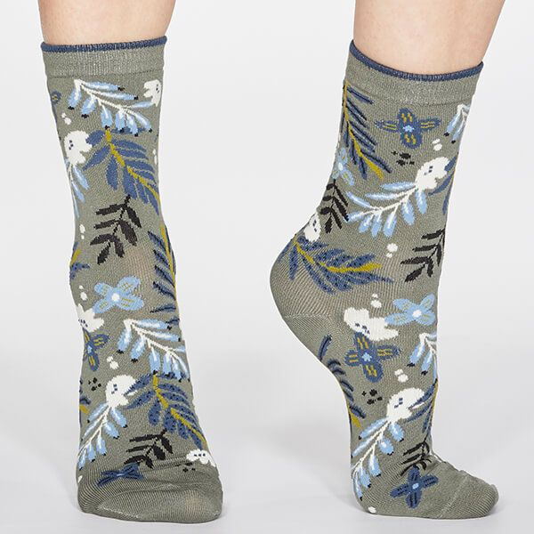 Thought Sage Green Nelly Floral Socks