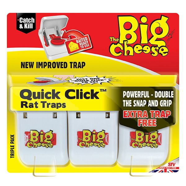 The Big Cheese Quick Click Rat Traps Pack Of 3