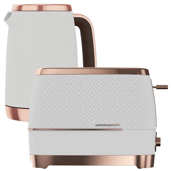 Beko White & Rose Gold Cosmopolis Kettle And Toaster Set