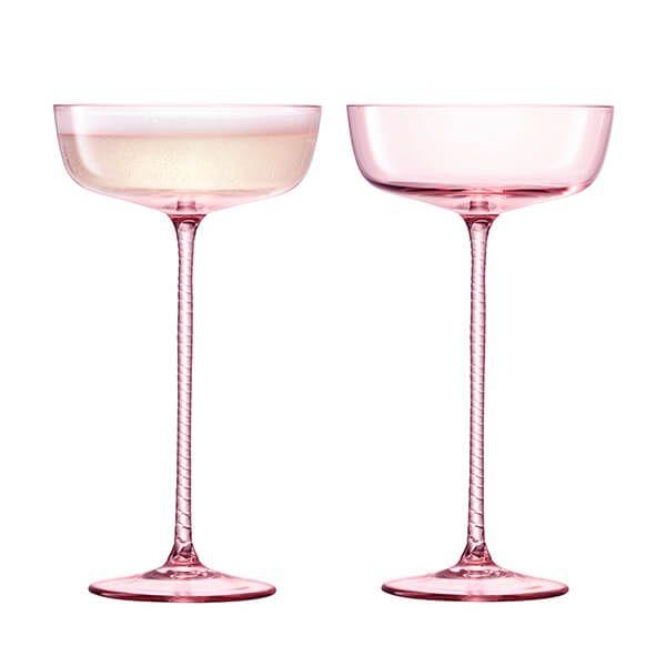 LSA Champagne Theatre 190ml Champagne Saucer Braid / Dawn Pink Set Of 2