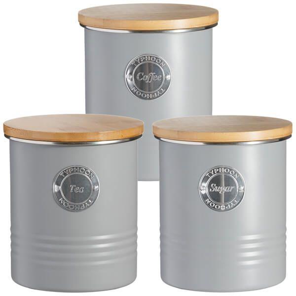 Typhoon Living 3 Piece Storage Set Tea, Coffee & Sugar Grey