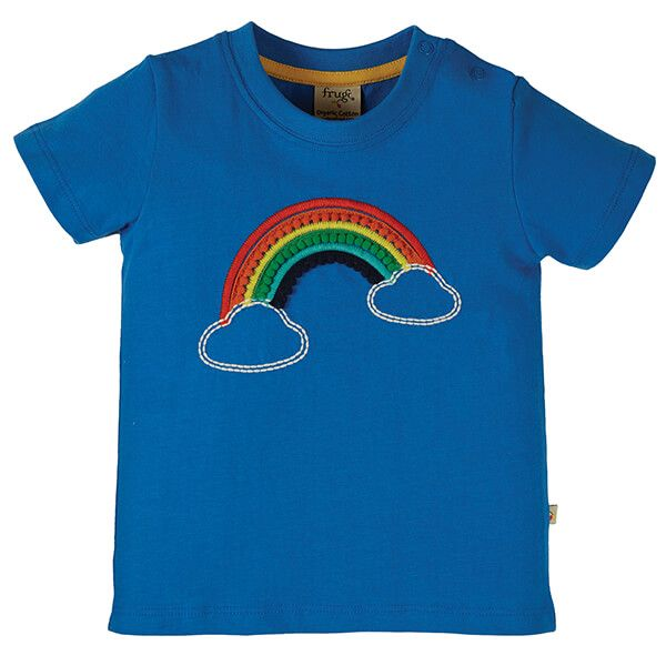 Frugi Organic Cobalt/Rainbow Avery Applique Top