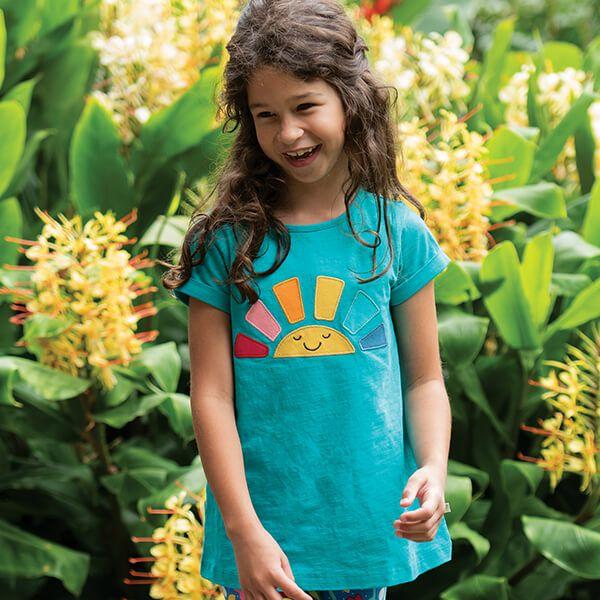 Frugi Organic Jewel Rainbow Lizzie Applique Slub Top