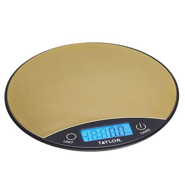 Taylor Pro Black & Brass 5kg Digital Dual Kitchen Scale