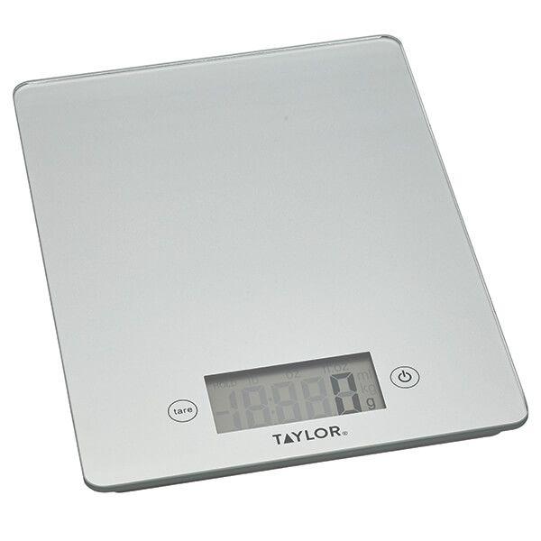 Taylor Pro Silver Glass 5kg Digital Kitchen Scale