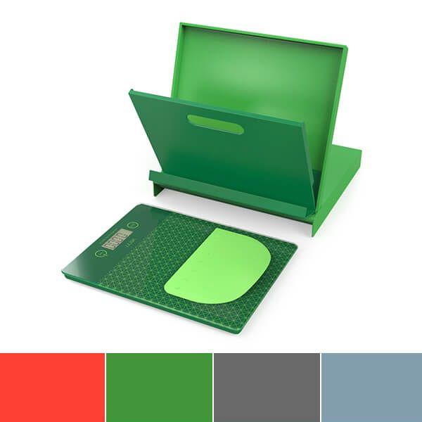 Venn Digital Kitchen Scales with Cookbook Stand & Bowl Scraper Green