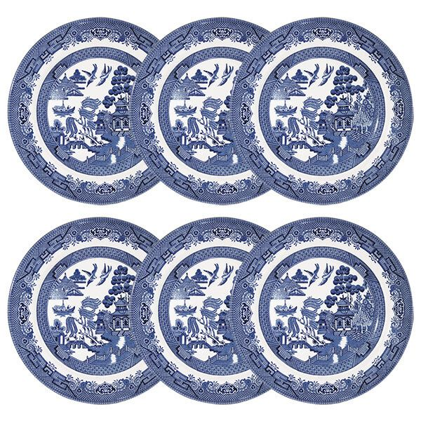 Churchill China Blue Willow Salad Plate 20cm Set Of 6