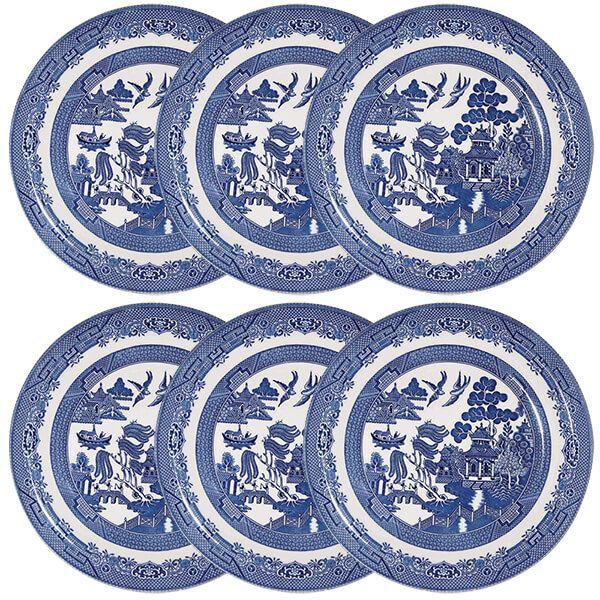 Churchill China Blue Willow Dinner Plate 26cm Set Of 6