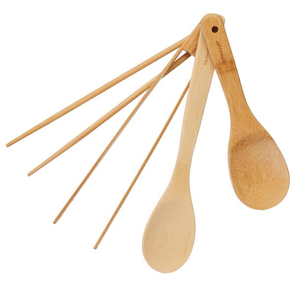 World Of Flavours 4 Piece Bamboo Utensil Set