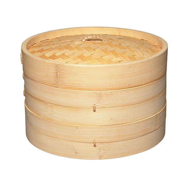 World Of Flavours Oriental Two Tier Large Bamboo Steamer and Lid