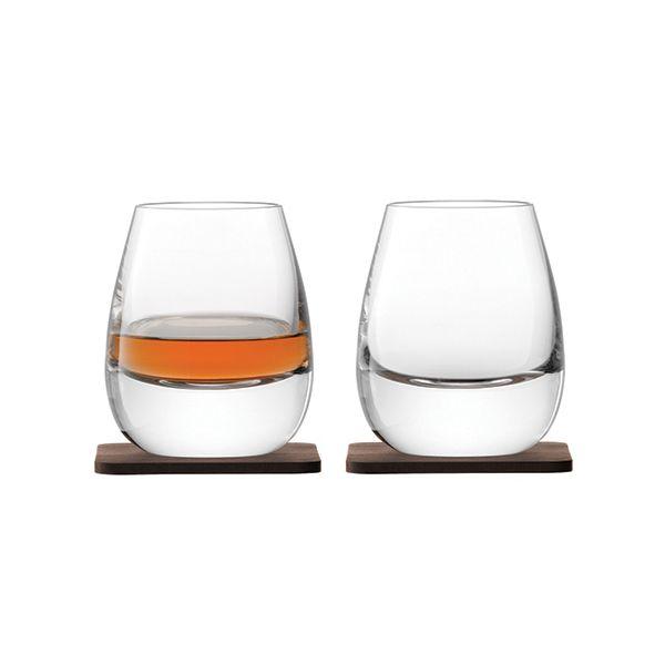 LSA Whisky Islay Tumbler 250ml Clear With Walnut Coaster Set Of 2