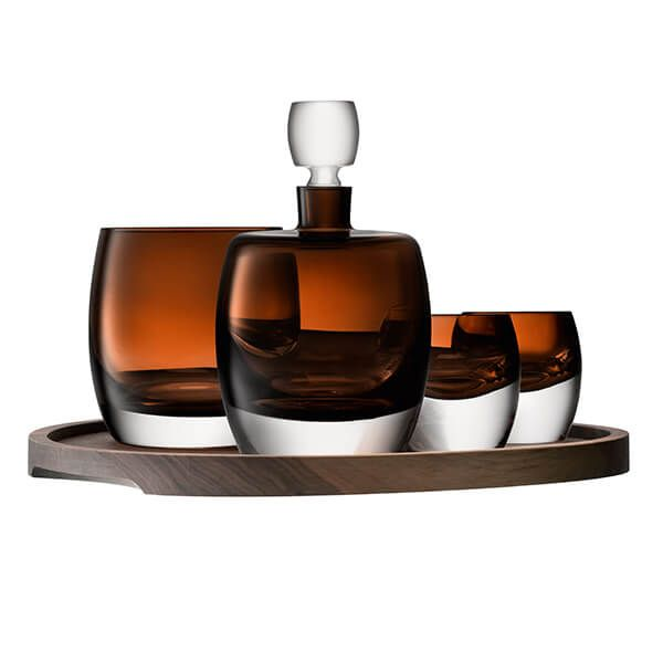 LSA Whisky Club Connoisseur Set & Walnut & Cork Serving Tray Peat Brown
