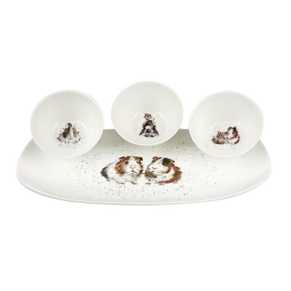 Wrendale Designs Guinea Pigs 3 Bowls and Tray Set